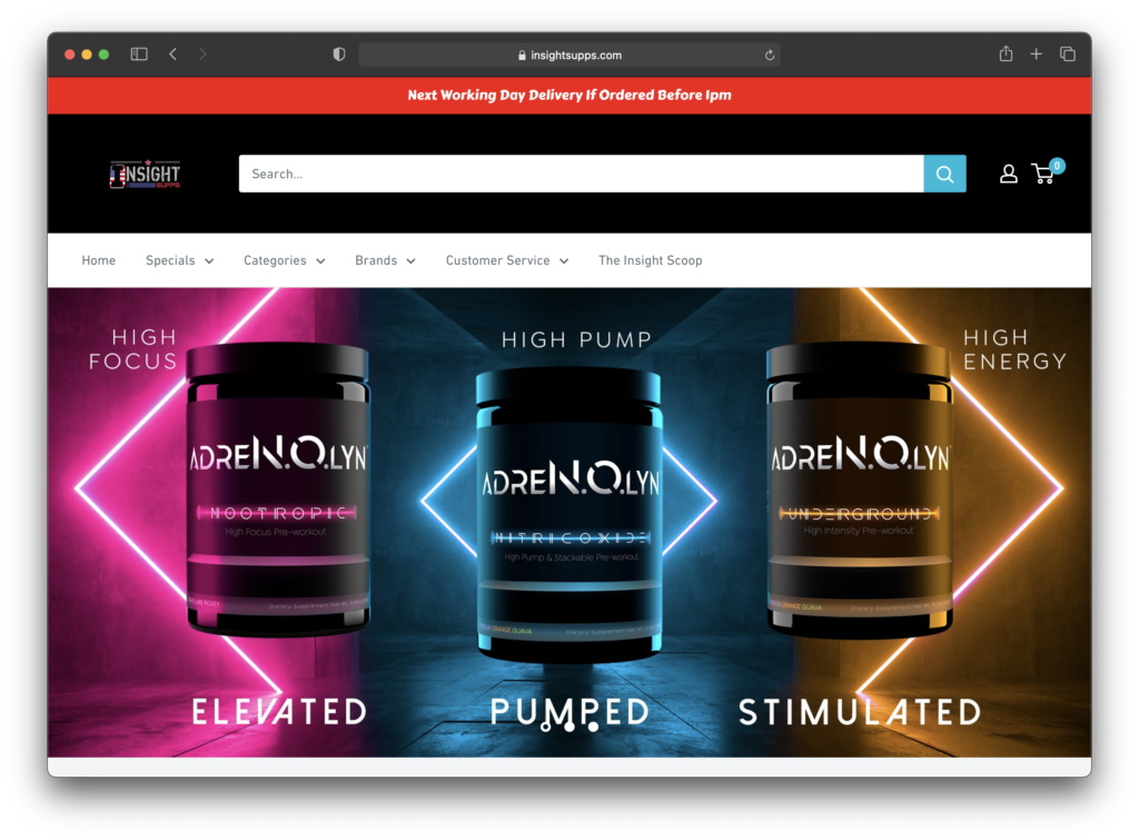 Insight Supplements - Current Home Screen
