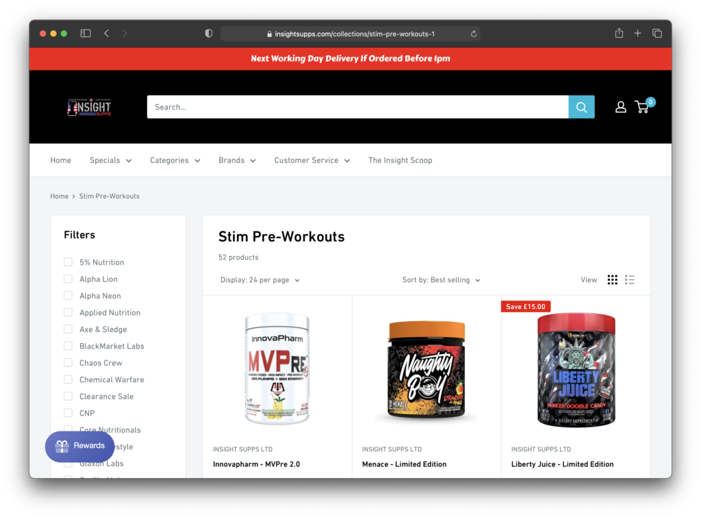 Insight Supplements - Product Page