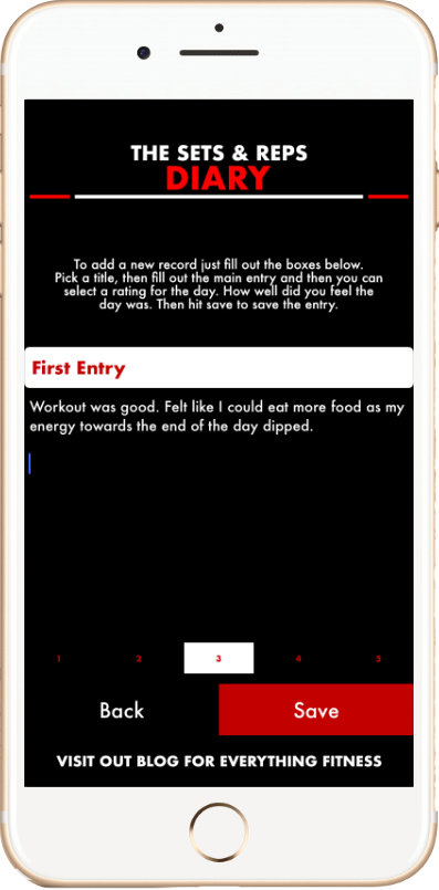 Membership Area - Diary Entry