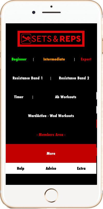 Sets & Reps Application - Menu